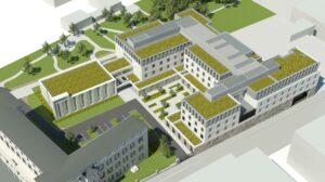 Reconstruction de ma Maison des Petites Sœurs des Pauvres de Lyon Croix-Rousse: vue aérienne